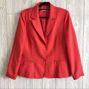 Jessica Large Red Coral Blazer Linen Blend